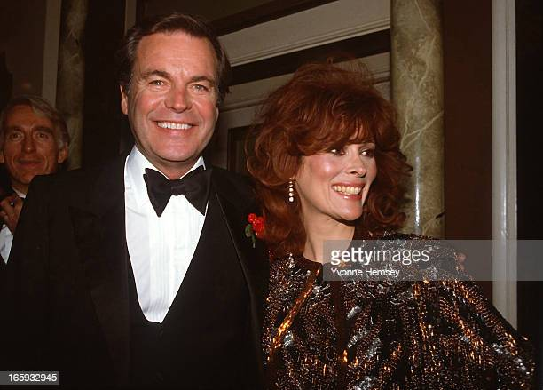 Robert Wagner and his wife Jill St John pose for a photograph at Night of 100 Stars event March 8 1982 in New York City