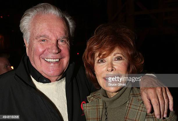 """Robert Wagner and Jill St. John pose backstage at the hit musical """"Hamilton"""" on Broadway at The Richard Rogers Theater on October 28, 2015 in New..."""