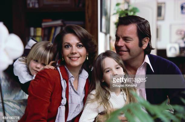 Robert Wagner and Natalie Wood and two of their children Courtney left and Natasha center