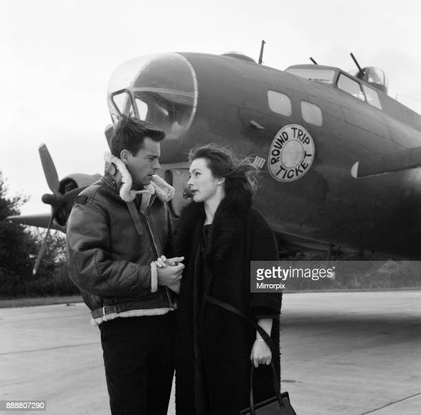 Robert Wagner and Shirley Anne Field filming the War Lover in front of a Boeing B17 Flying Fortress at RAF Bovingdon aerodrome 1st November 1961
