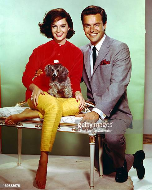 Robert Wagner US actor and his wife Natalie Wood US actress with a small dog circa 1965