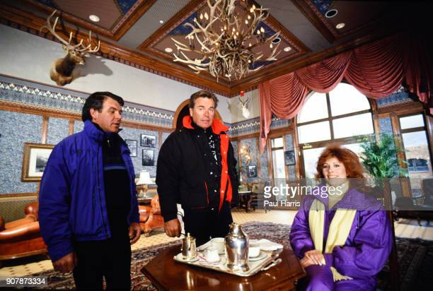 Robert Wagner with Susan Saint James actress photographed December 22 1987 having tea in a luxury hotel in Aspen Colorado
