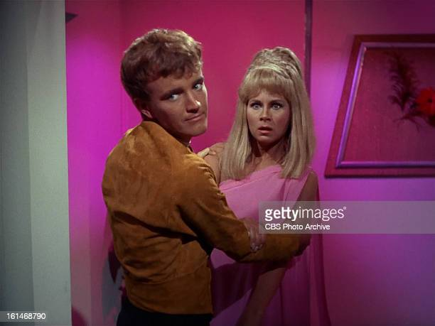 Robert Walker Jr as Charlie Evans and Grace Lee Whitney as Yeoman Janice Rand in in the STAR TREK episode Charlie X Season 1 episode 2 Original air...