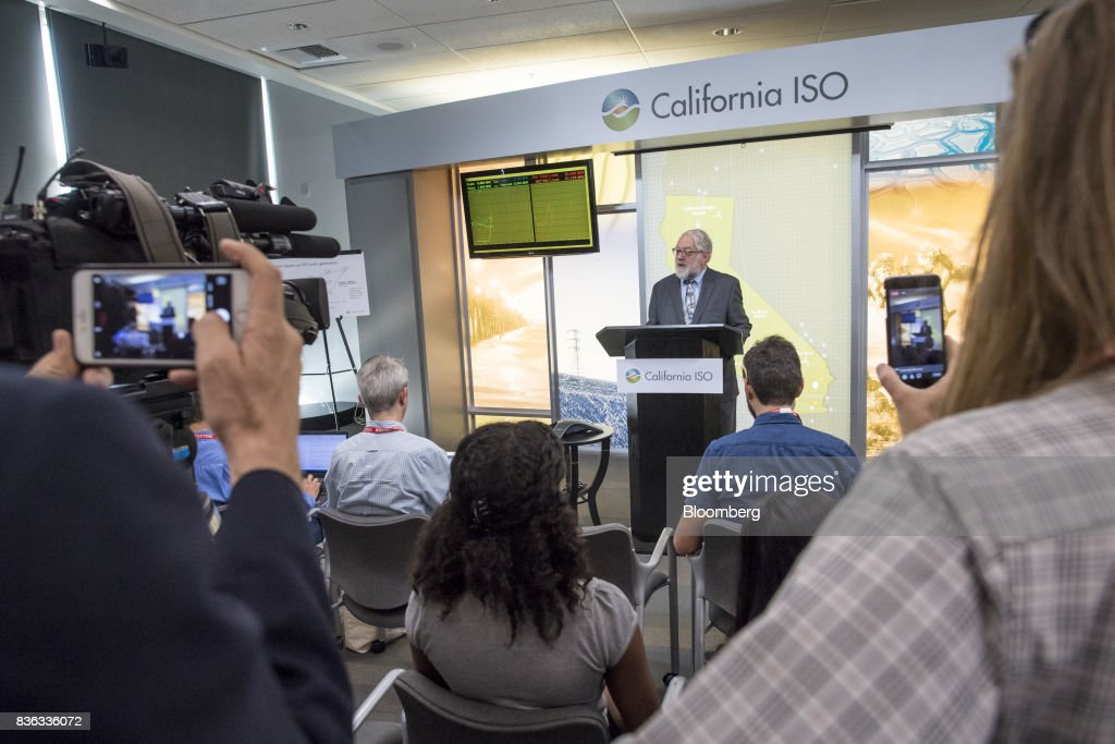 Robert Weisenmiller, chairman of the California Energy Commission, speaks at a press conference during the solar eclipse at the California Independent System Operator (ISO) headquarters in Folsom, California, U.S., on Monday, Aug. 21, 2017. Millions of Americans across a 70-mile-wide (113-kilometer) corridor from Oregon to South Carolina will see the sky darken as the sun disappears from view total during the eclipse. Photographer: David Paul Morris/Bloomberg via Getty Images