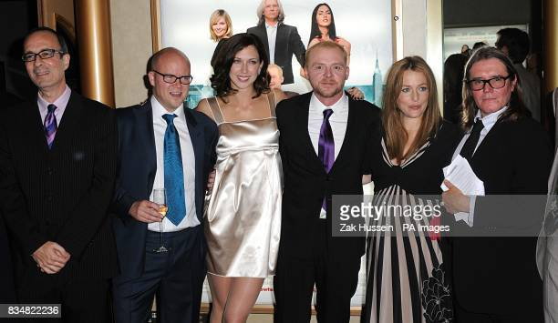 Robert Welde Toby Young Margo Stilley Simon Pegg and Gillian Anderson arrive for the UK premiere of 'How To Lose Friends and Alienate People' at the...