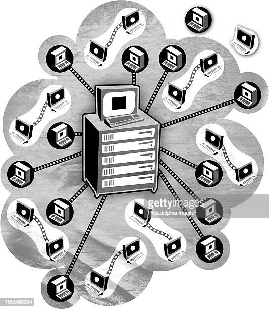 Robert West black and white illustration of central computer linking around to client servers peertopeer servers fill in the gaps