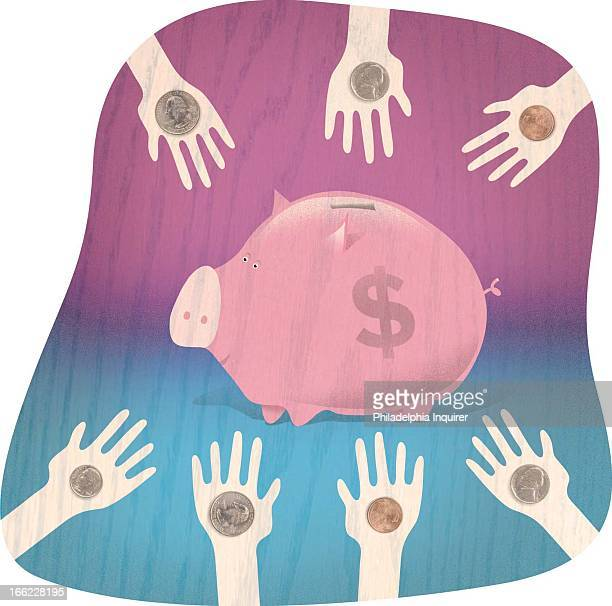 Robert West color illustration of small hands holding pennies nickels dimes and quarters toward piggy bank in center