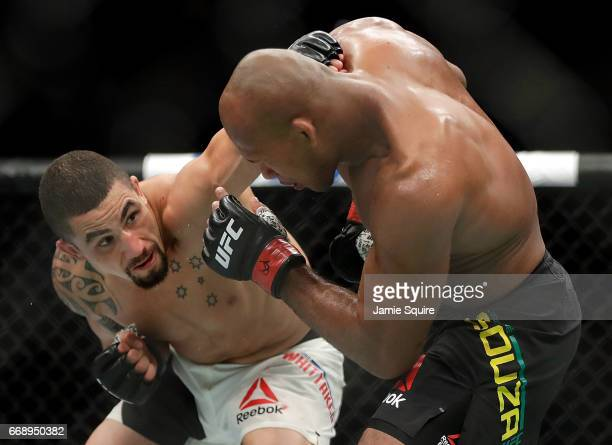 Robert Whittaker battles Jacare Souza during their Middleweight bout on UFC Fight Night at the Sprint Center on April 15 2017 in Kansas City Missouri