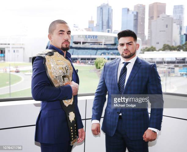 Robert Whittaker of Australia UFC middleweight champion poses with Kelvin Gastelum of the USA during a UFC press conference at Melbourne Arena on...