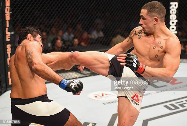Robert Whittaker of New Zealand kicks Rafael Natal in their middleweight bout during the UFC 197 event inside MGM Grand Garden Arena on April 23 2016...