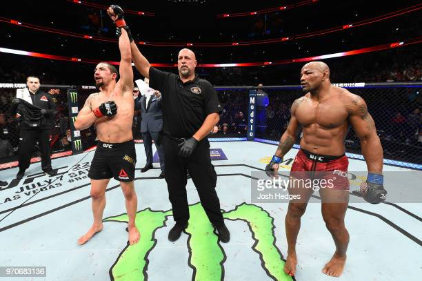 Robert Whittaker of New Zealand reacts after defeating Yoel Romero of Cuba in their middleweight fight during the UFC 225 event at the United Center...