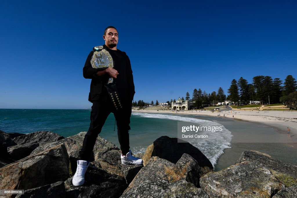 Robert Whittaker poses for a photo at Cottesloe Beach after a UFC 221 media opportunity on October 31, 2017 in Perth, Australia.