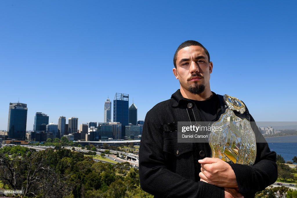 Robert Whittaker poses for a photo at Kings Park overlooking the Perth City skyline during a UFC 221 media opportunity on October 31, 2017 in Perth, Australia.
