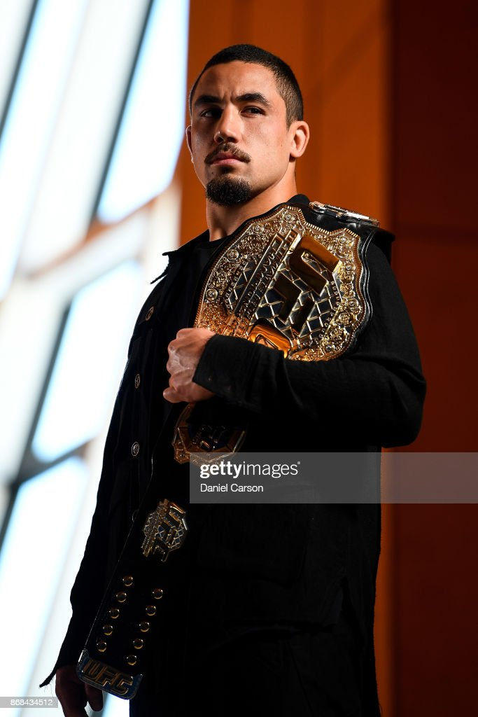 Robert Whittaker poses for a photo in Perth Arena after the press conference during a UFC 221 media opportunity on October 31, 2017 in Perth, Australia.