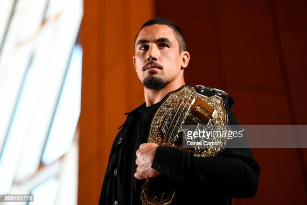 Robert Whittaker poses for a photo in Perth Arena after the press conference during a UFC 221 media opportunity on October 31 2017 in Perth Australia