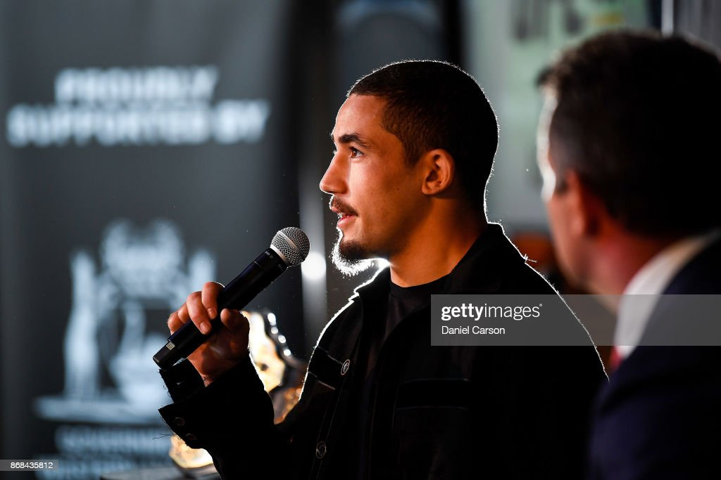 Robert Whittaker takes questions during a UFC 221 media opportunity on October 31, 2017 in Perth, Australia.