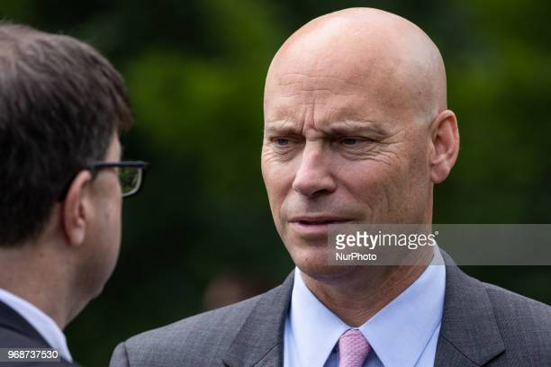 Robert Wilkie secretary of the US Veterans Affairs nominee and Marc Short White House director of legislative affairs attend ceremony where US...