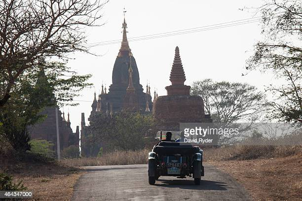Robert Wilkinson and Mark Wilkinson near the finish line surrounded by ancient pagodas in their 1926 Bentley Tourer on the final day of the Road to...