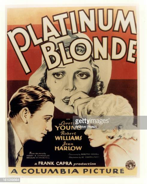 Robert Williams and Jean Harlow in movie art for the film 'Platinum Blonde' 1931