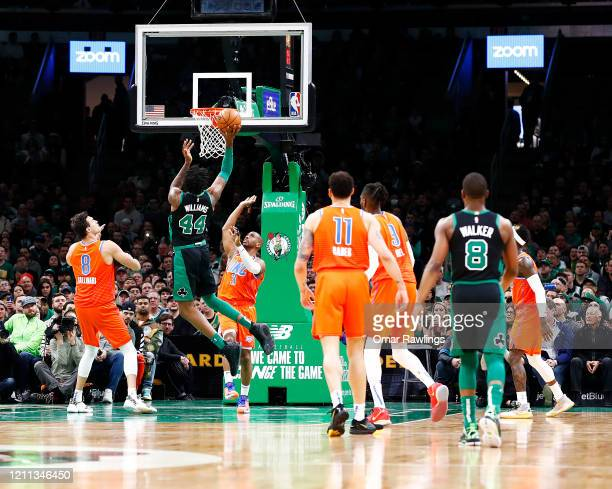 Robert Williams III of the Boston Celtics drives to the basket during the second quarter of the game against the Oklahoma City Thunder at TD Garden...