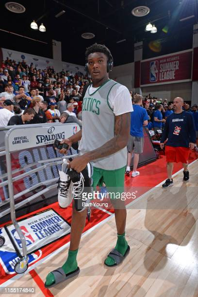 Robert Williams III of the Boston Celtics looks on before the game against the Denver Nuggets on July 9 2019 at the Cox Pavilion in Las Vegas Nevada...