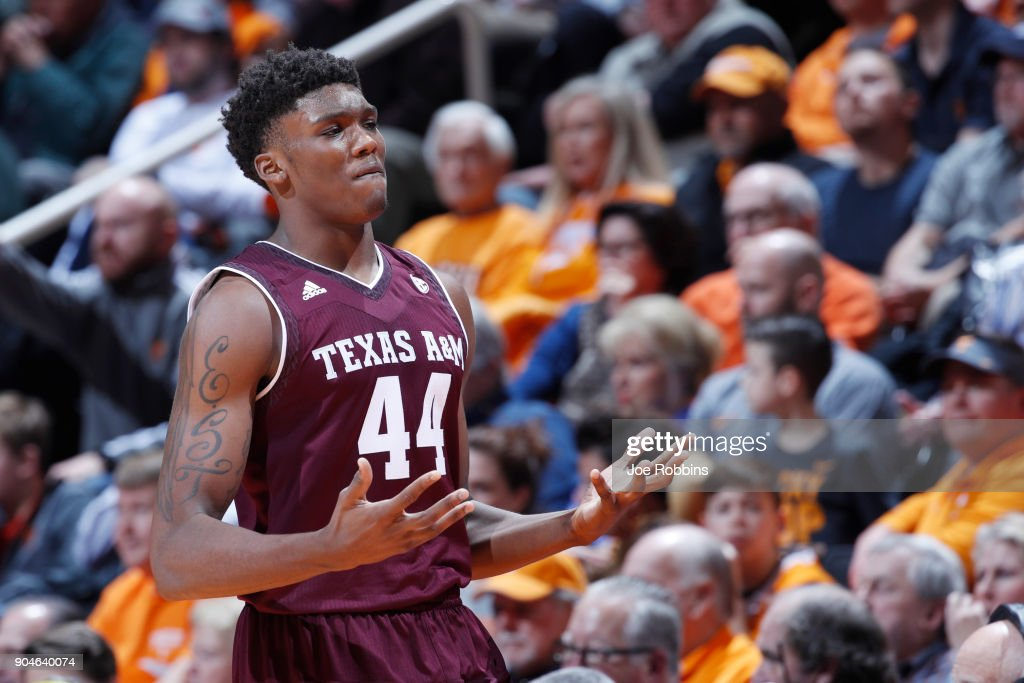 Robert Williams #44 of the Texas A&M Aggies reacts after being called for a foul against the Tennessee Volunteers in the second half of a game at Thompson-Boling Arena on January 13, 2018 in Knoxville, Tennessee. Tennessee won 75-62.