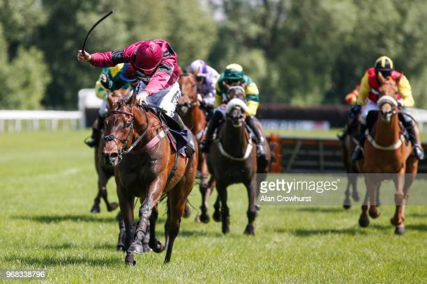 Robert Williams riding Borak win The Andrew Thornton Congratulations On Your Retirement Handicap Hurdle at Uttoxeter Racecourse on June 06 2018 in...