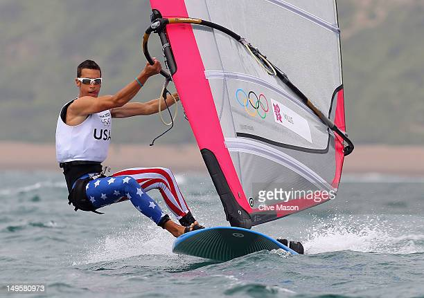 Robert Willis of the United States competes in the Men's RSX Sailing on Day 4 of the London 2012 Olympic Games at Weymouth Harbour on July 31 2012 in...
