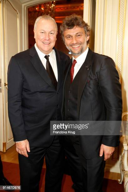Robert Wilson and Jonas Kaufmann during the Rolex Arts Initiative Ceremony at Staatsoper on February 5 2018 in Berlin Germany