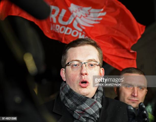 Robert Winnicki Polish member of parliament and leader of the rightwing nationalist National Movement political party speaks during a rally...