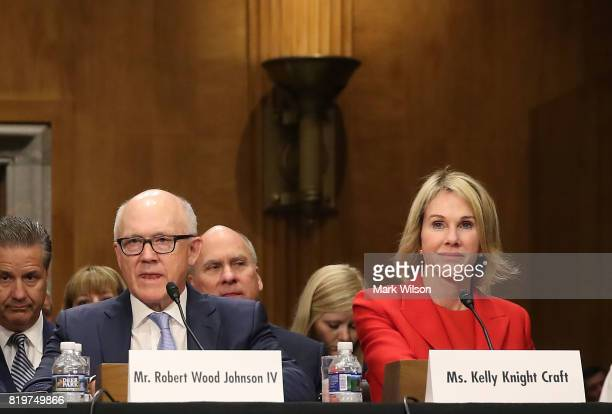 Robert Wood Johnson IV and Kelly Knight Craft participate in their Senate Foreign Relations Committee confirmation hearing on Capitol Hill June 20...