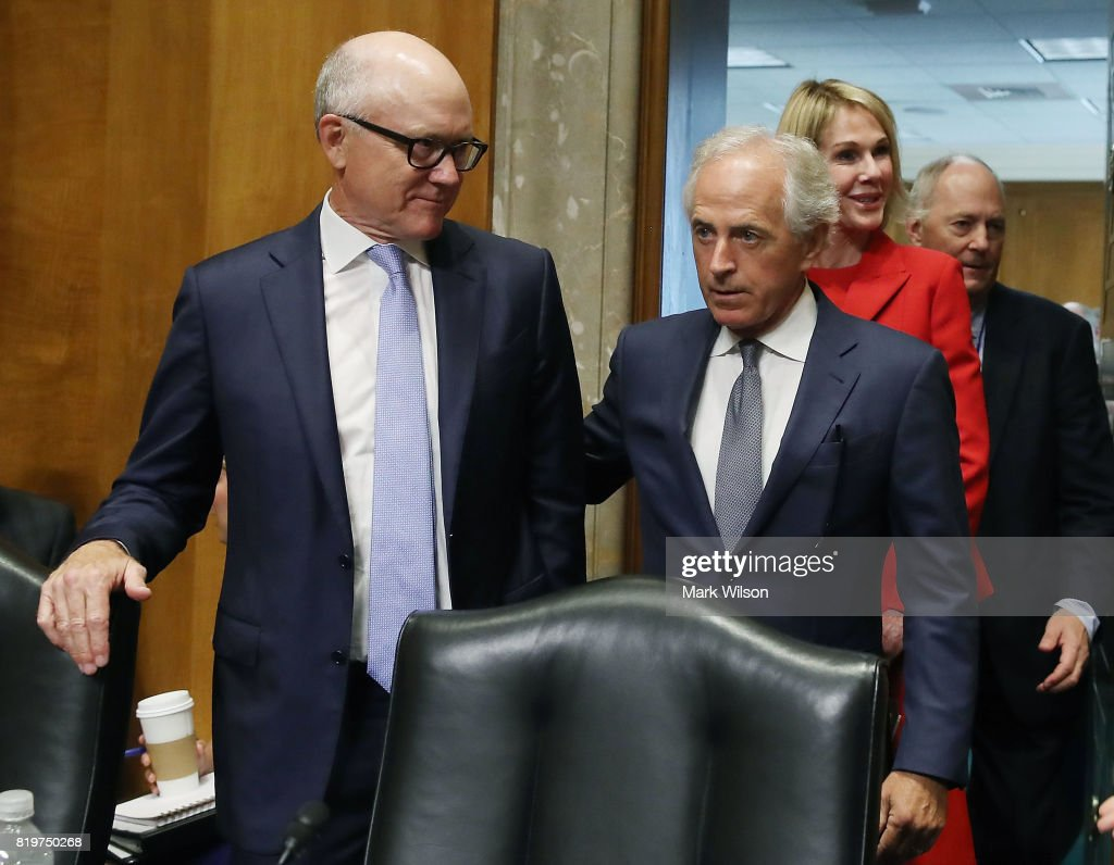 Robert Wood Johnson IV (C) stands with Chairman Bob Corker (R-TN) before Johnson's confirmation hearing to be ambassador to the United Kingdom, during a Senate Foreign Relations Committee hearing on Capitol Hill, June 20, 2017 in Washington, DC.