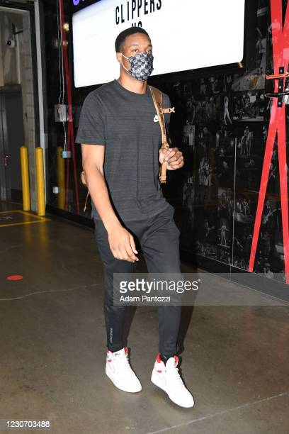 Robert Woodard II of the Sacramento Kings arrives prior to a game against the LA Clippers on January 20, 2021 at STAPLES Center in Los Angeles,...