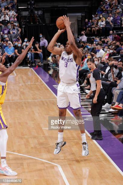 Robert Woodard II of the Sacramento Kings shoots a three point basket against the Los Angeles Lakers during the 2021 California Classic Summer League...