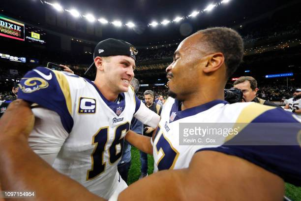 Robert Woods and Jared Goff of the Los Angeles Rams celebrate after defeating the New Orleans Saints in the NFC Championship game at the MercedesBenz...