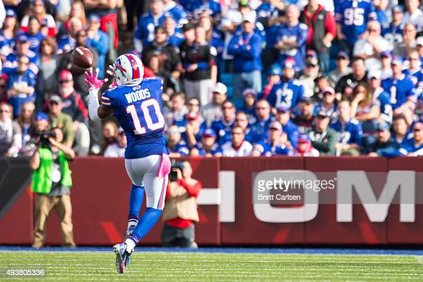 Robert Woods of the Buffalo Bills catches a pass during the second half against the New York Giants on October 4 2015 at Ralph Wilson Stadium in...