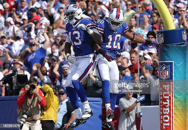 Robert Woods of the Buffalo Bills celebrates his touchdown with Stevie Johnson during NFL game action against the Baltimore Orioles at Ralph Wilson...