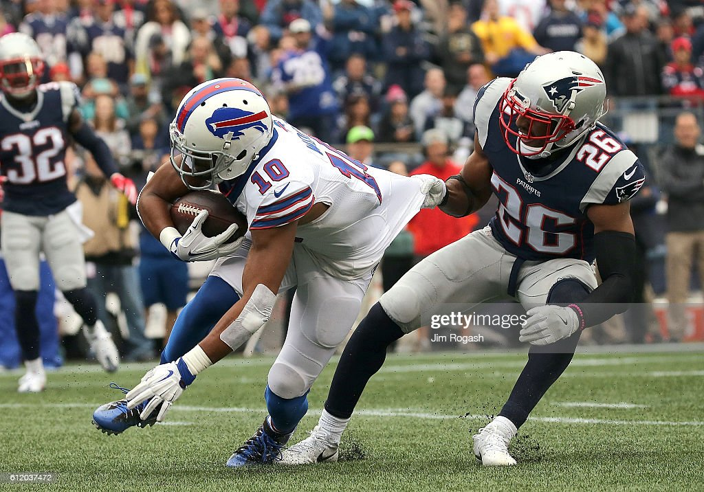 Robert Woods #10 of the Buffalo Bills gains yards as Logan Ryan #26 of the New England Patriots defends in the first half at Gillette Stadium on October 2, 2016 in Foxboro, Massachusetts.