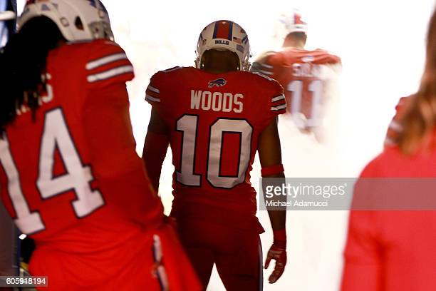 Robert Woods of the Buffalo Bills waits to be introduced before the game against the New York Jets at New Era Field on September 15 2016 in Orchard...