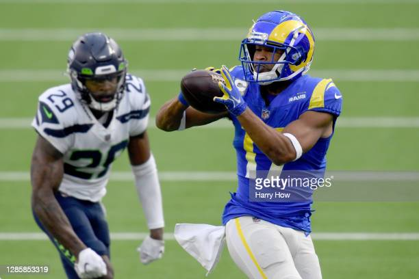 Robert Woods of the Los Angeles Rams catches a pass against D.J. Reed of the Seattle Seahawks in the second quarter at SoFi Stadium on November 15,...