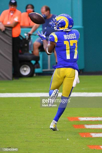 Robert Woods of the Los Angeles Rams catches a pass for a touchdown against the Miami Dolphins during their NFL game at Hard Rock Stadium on November...