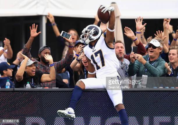 Robert Woods of the Los Angeles Rams celebrates a ninety four yard pass play touchdown during the second half of game against the Houston Texans at...