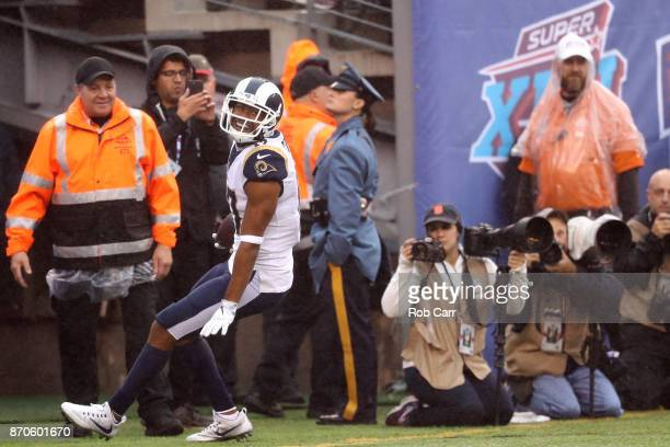 Robert Woods of the Los Angeles Rams celebrates after catching a first half touchdown pass against the New York Giants at MetLife Stadium on November...