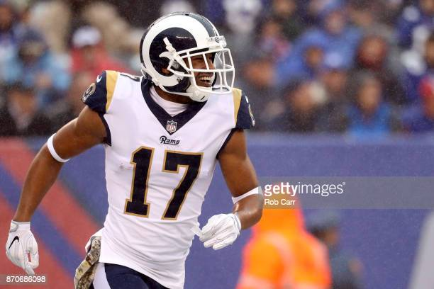 Robert Woods of the Los Angeles Rams celebrates after catching a touchdown pass against the New York Giants at MetLife Stadium on November 5 2017 in...