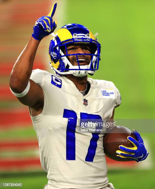 Robert Woods of the Los Angeles Rams celebrates after scoring a 4 yard touchdown against the Tampa Bay Buccaneers during the first quarter in the...