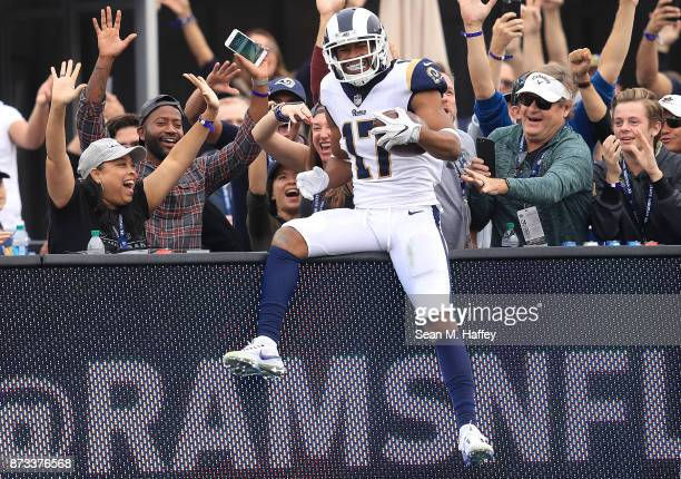Robert Woods of the Los Angeles Rams celebrates after scoring a touchdown during the game against the Houston Texans at the Los Angeles Memorial...