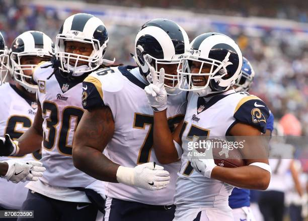 Robert Woods of the Los Angeles Rams celebrates after scoring his second touchdown of the day against the New York Giants during their game at...
