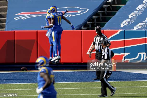 Robert Woods of the Los Angeles Rams celebrates with teammate Josh Reynolds after scoring a touchdown during the third quarter against the Buffalo...