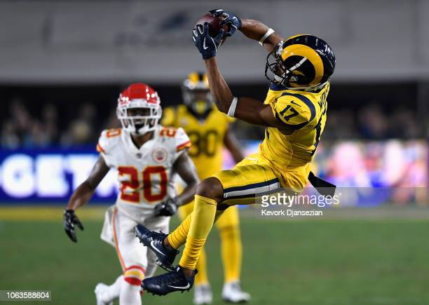 Robert Woods of the Los Angeles Rams completes a pass to set up the second touchdown against the Kansas City Chiefs in the first quarter of the game...