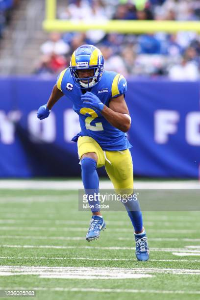 Robert Woods of the Los Angeles Rams in action against the New York Giants at MetLife Stadium on October 17, 2021 in East Rutherford, New Jersey. Los...